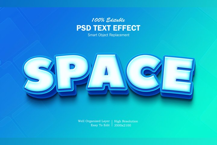 3D Space Text Effect