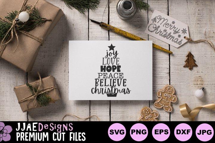 Joy Love Hope Peace Believe Christmas Tree SVG | Christmas