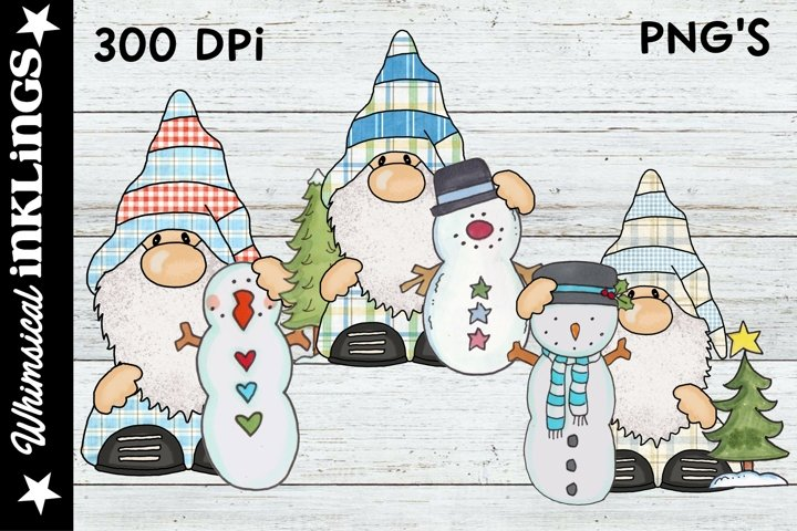 Woodland Snowman Gnomes Sublimation Clipart