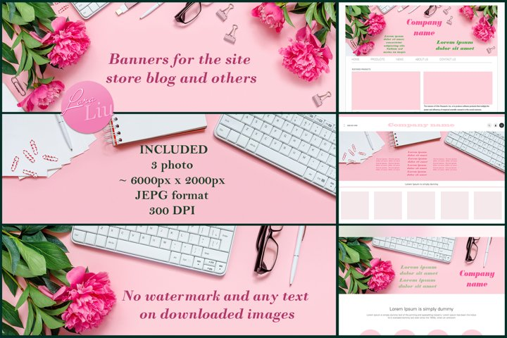Banner with peonies for store site or social media
