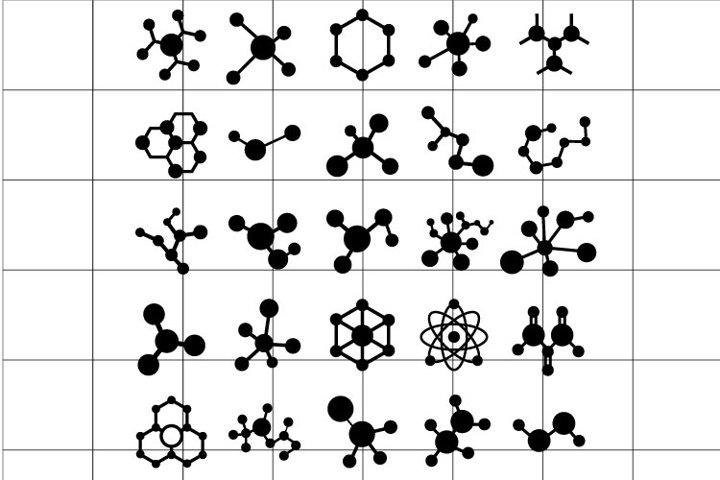 Molecule or chemistry SVG set for cut.