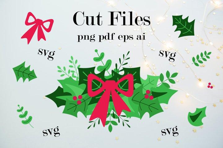 Christmas wreath svg. Christmas wreath and bow cut files.