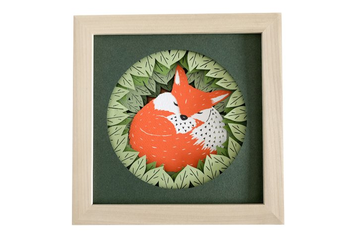 Baby Fox Shadow Box 3D Papercut Template
