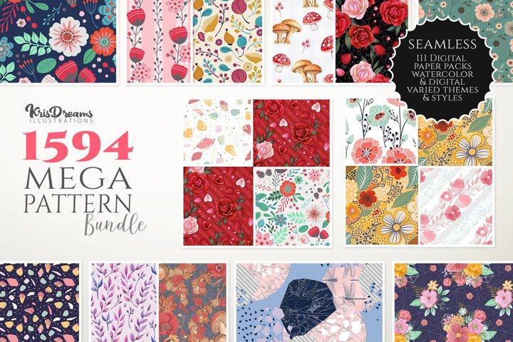 Digital Paper Bundle, Watercolor Floral Digital Paper