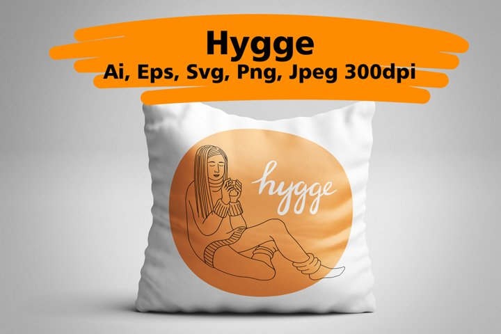Hygge hand drawn vector of cozy images
