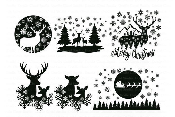 Winter Scene with Deer Bundle SVG, Christmas Deer SVG, Santa