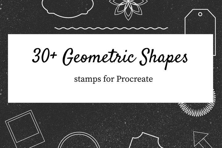 30 2D Procreate Geometric Frame Stamps