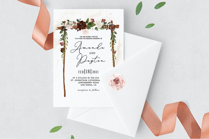 Burgundy Floral Arch Wedding Invitation Template
