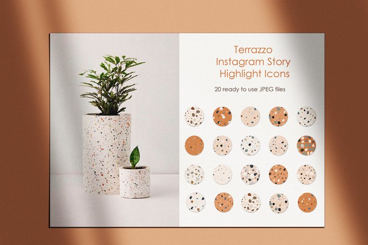 Terrazzo instagram Story Highlight Icons. Boho icons