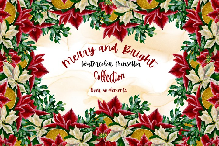 Merry and Bright - Watercolor Poinsettia Collection