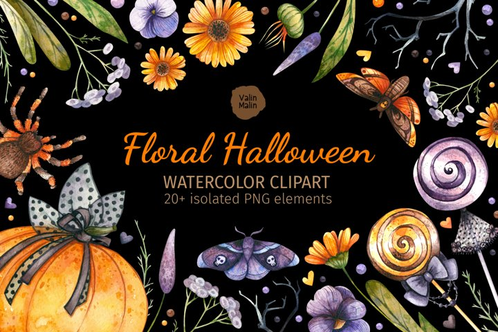 Halloween Watercolor Gothic Clipart