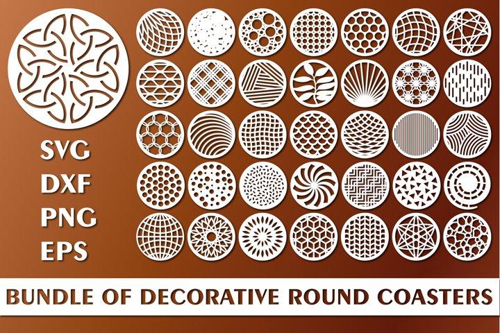 Bundle of Decorative Circle Coasters Cutting Files SVG DXF
