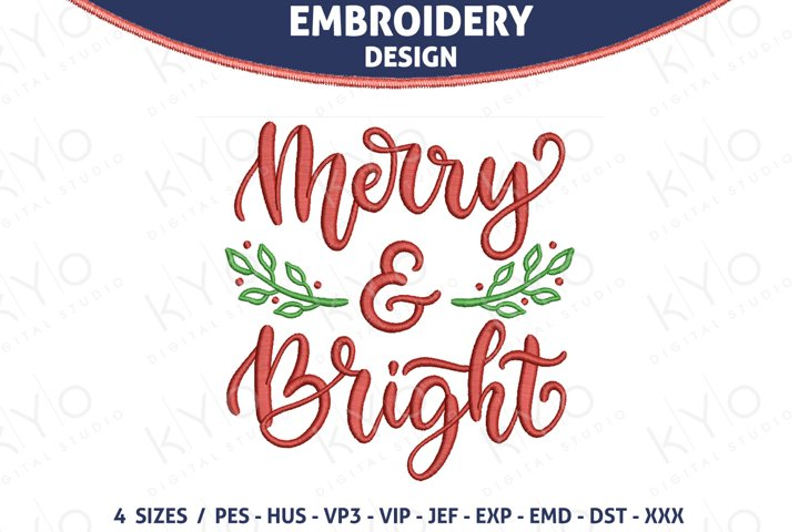 Merry and Bright Christmas embroidery design