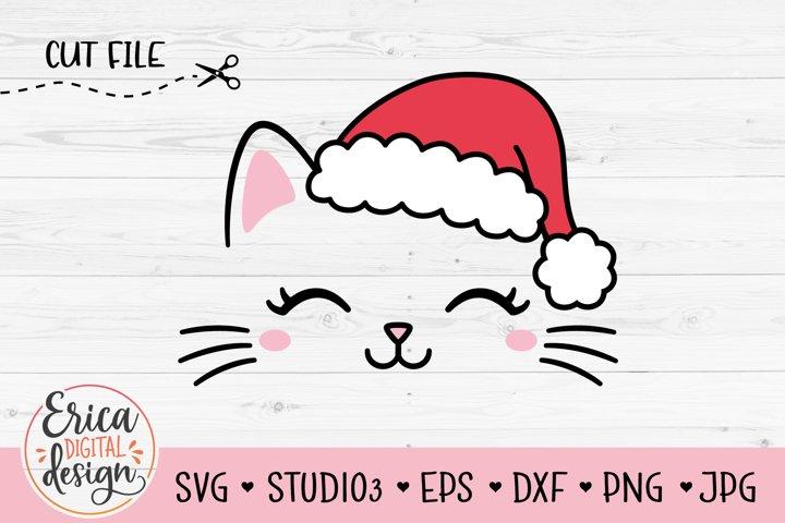 Christmas Cat SVG cut file Cute Funny Cat face Santa Hat