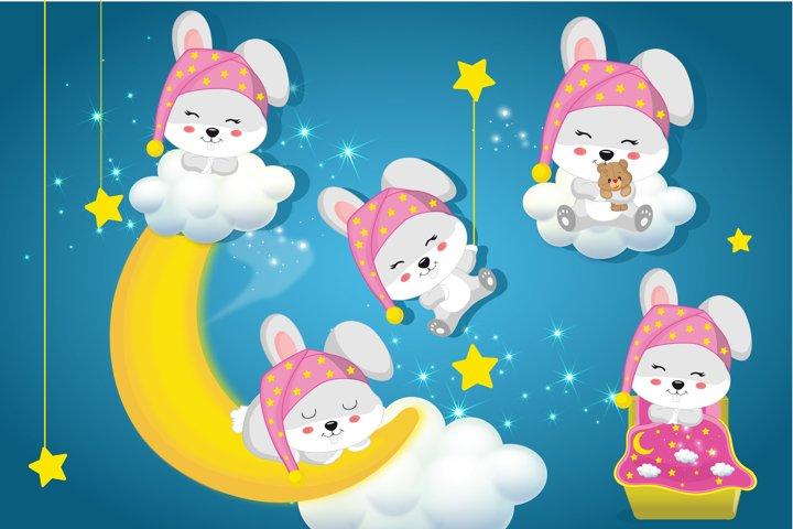 Bunny sleepover party graphics, Bunny girls clipart set