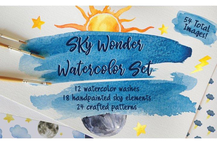 Sky Wonder, Watercolor Clip Art Set! Patterns, Backgrounds! example