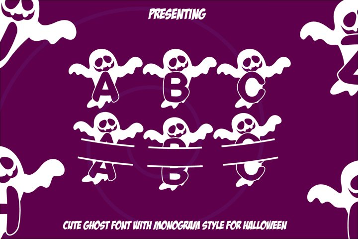Boo Ghost Monogram Font for Halloween 2X Style