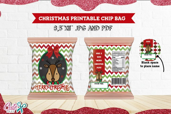Christmas reindeer chip bag Printable for your friends