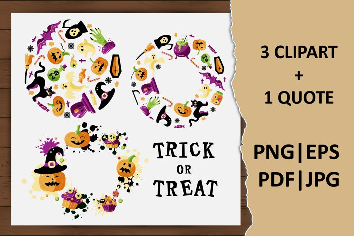 Halloween rounds, Trick or Treat quote. Halloween clipart