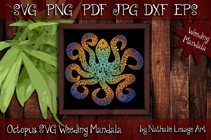 Octopus SVG Mandala Zentangle Weeding and Sublimation Design