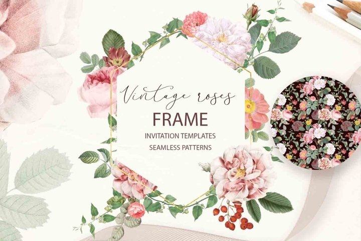 Pink Shabby Floral Clipart Papers Frame Vintage watercolor