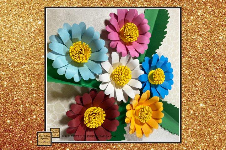 Paper Daisy Template Svg Cut File Paper Flower print cricut