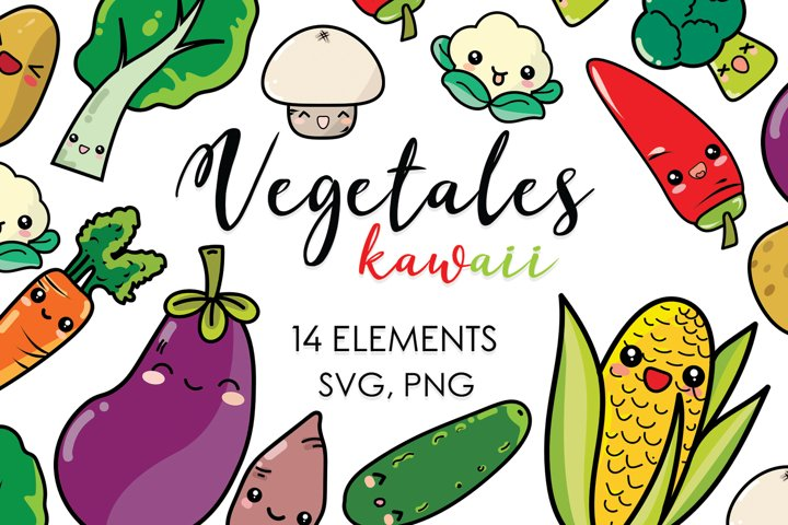 Kawaii, Plants, Vegetables, Garden, Cartoon, Planner Clipart
