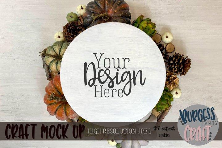 Round white wood sign Autumn | Craft mock up