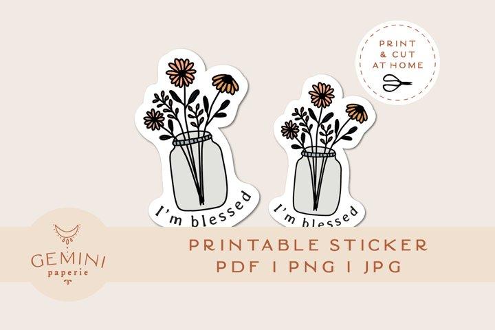 Printable Sticker   Floral Mason Jar Sticker for Cricut
