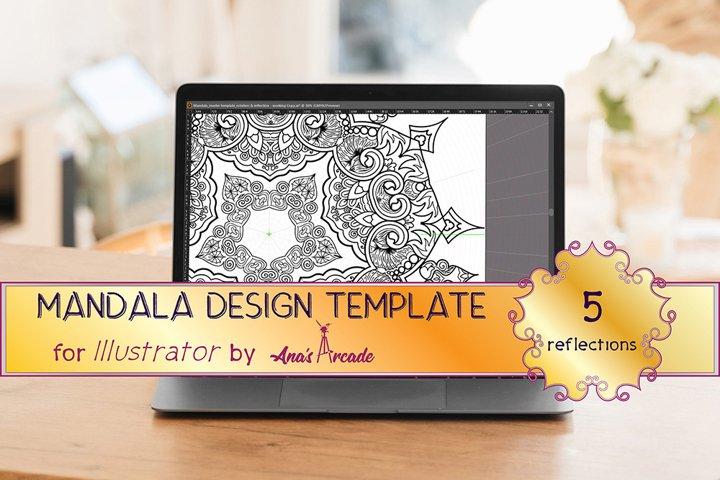 Mandala Design Template_5 Reflections for Adobe Illustrator