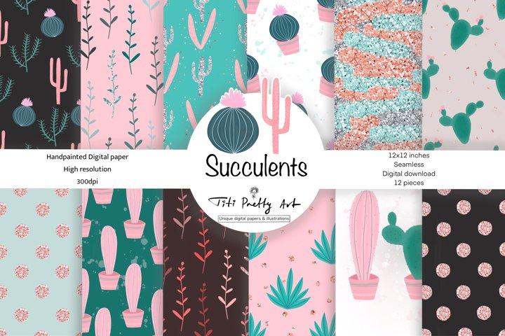 Cactus Digital Paper, Succulents Digital Paper