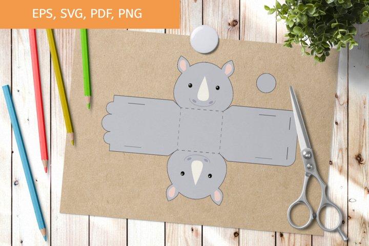 Cute Rhino Gift Box Template SVG, Gift Box SVG