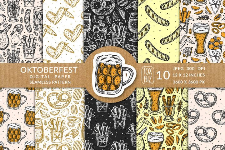 Oktoberfest. Menu design. Seamless pattern.