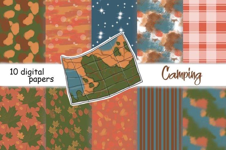 Camping PATTERN Travel Adventure World Maps Nature - JPEG