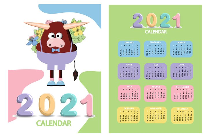 Calendar 2021. Cute design. Symbol of the year bull or ox. J