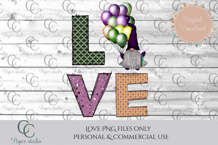 Sublimation design - Love - mardi gras gnome