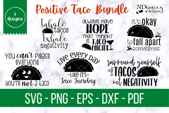 Positive Taco Bundle | SVG Cut File | Color | Uplifting
