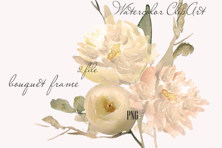 Beige Watercolor flowers clipart for Wedding branding design