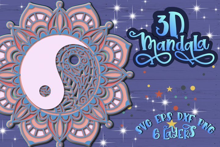 3D Mandala Layered Ying Yang svg Papercut SVG Zentangle