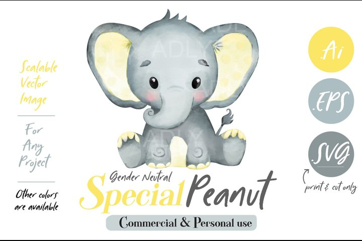 Baby Elephant, PNG, EPS, SVG, yellow color, Clip Art, vector