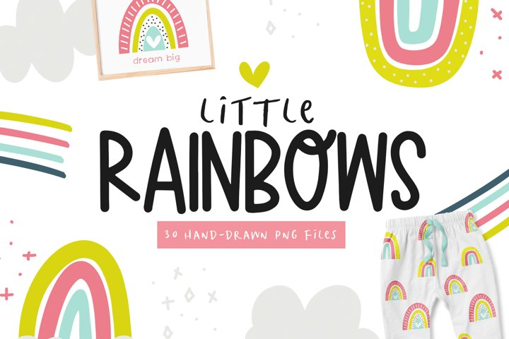 Bright Rainbows - Clip Art Collection