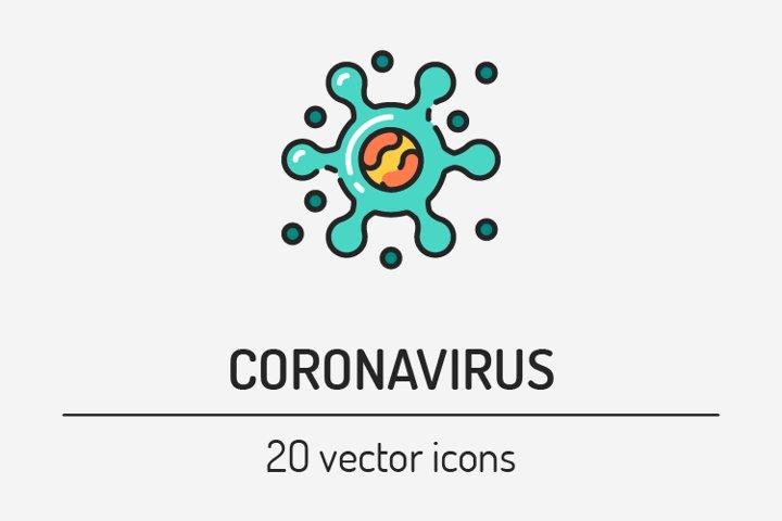 Coronavirus color line icons set. Covid -19.