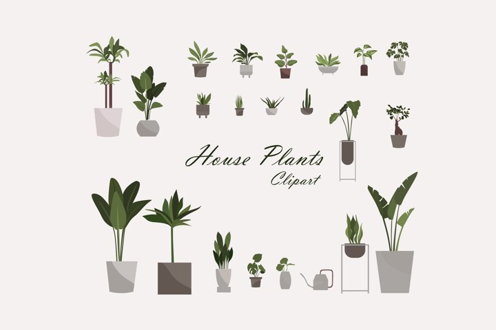 House plants clipart - gardening download - PNG vector downl