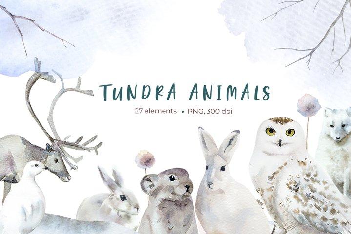 Watercolor Tundra Animals