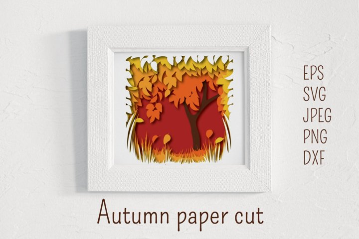 Autumn paper cut landscape