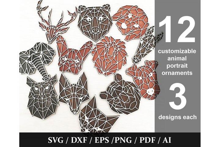 12 Geometric Animal Portrait Ornaments Cut Files - SVG/DXF
