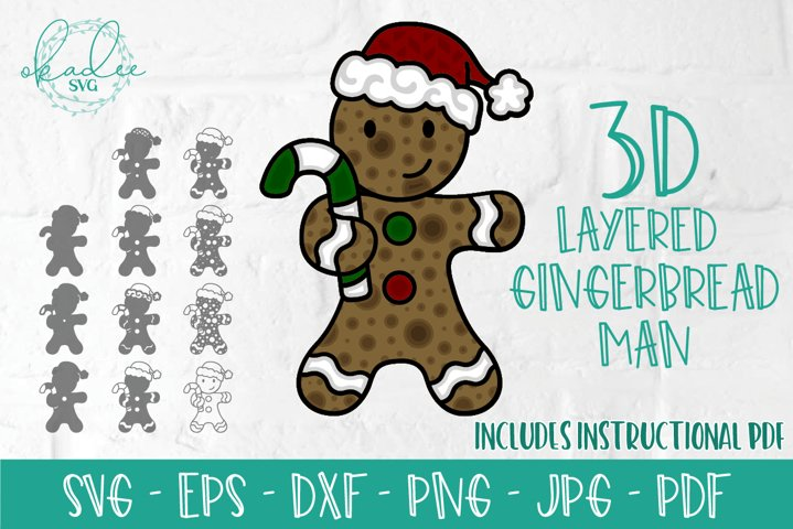 3D Layered Gingerbread Man SVG, 3D Christmas, Mandala, DXF