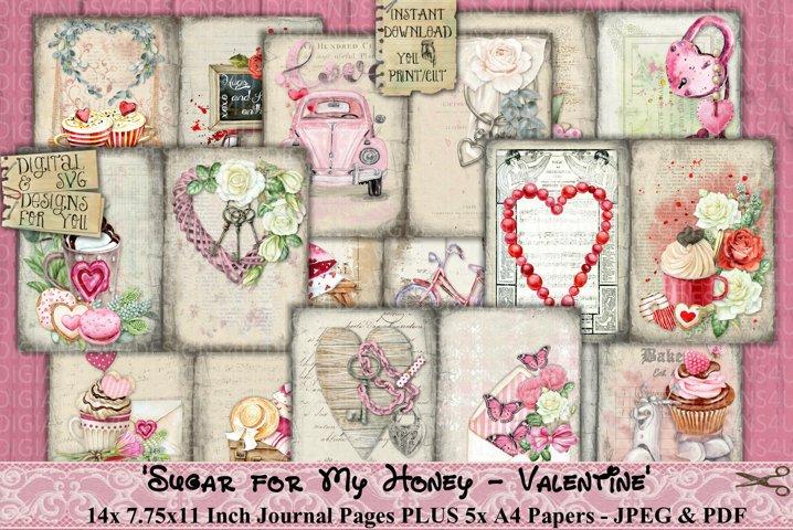 Valentine | Sugar for My Honey | Love | Junk Journal | Print