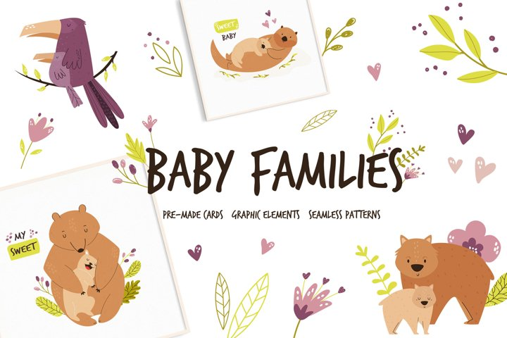 Cute Animal Families. Pre-made compositions, patterns, tags