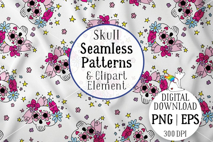 Skull Seamless Patterns, Skull Clipart, Skull Digital Paper
